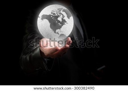 Businessman working with globalization concept, show North America Continent