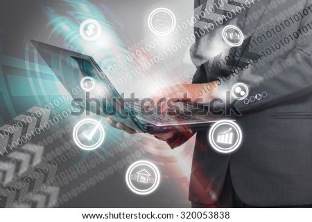 Businessman working with laptop. - stock photo