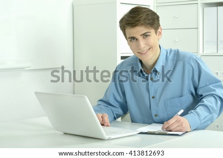 businessman working with laptop in office
