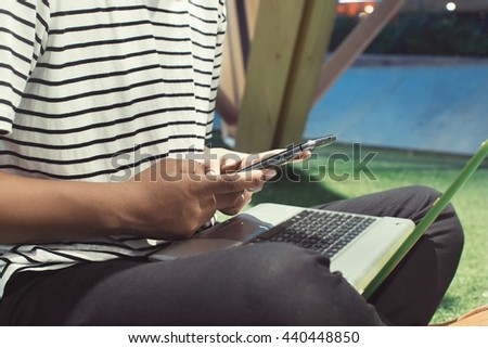 Businessman Working With Modern Devices, Digital Computer And Mobile Phone(Vintage) - stock photo