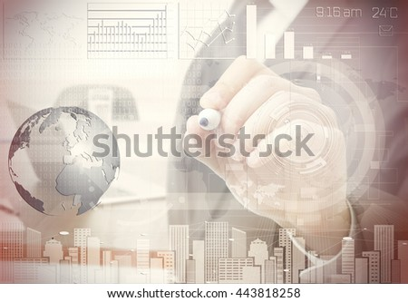 Businessman working with modern technology and digital layer effect