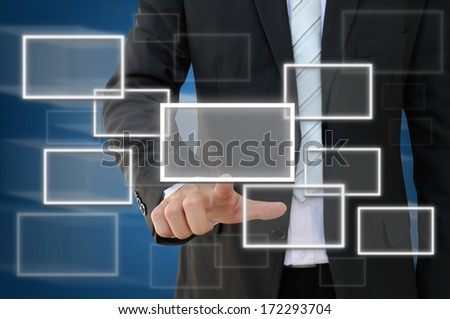 Businessman working with modern virtual technology - stock photo
