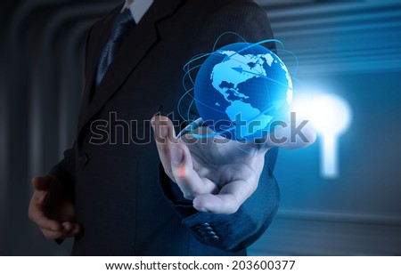 businessman working with new modern computer show globe with social network structure as concept