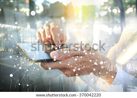 Businessman working with smartphone. Concept of modern technology, network connection. Image closed up hand make multiple layers and blur lens flare with blank space.