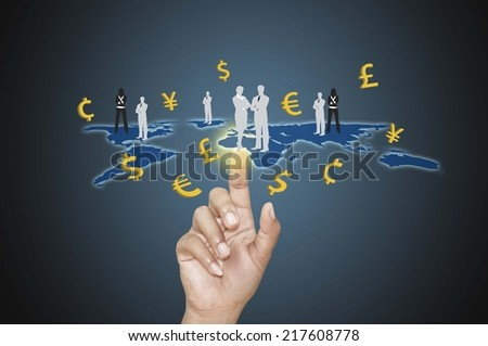 businessman working with  social network structure and Currency.