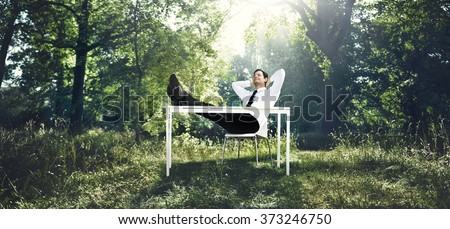 Businessman Working With The Nature Concept - stock photo