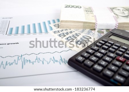 businessman workplace with czech money, calculator and charts, business collage - stock photo