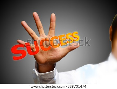 Businessman works with huge touch screen - stock photo