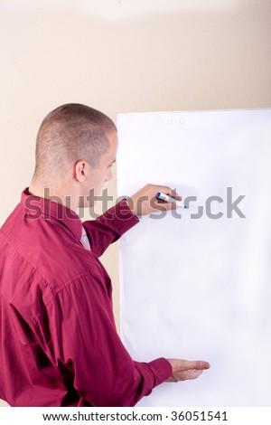 Businessman write - stock photo