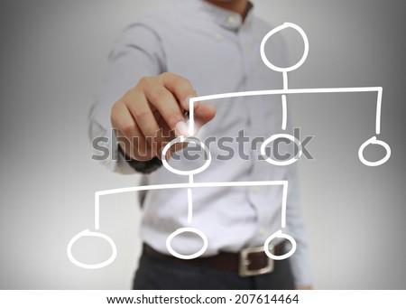 businessman write flowchart. - stock photo