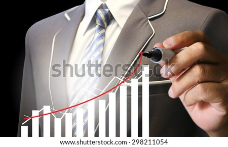 businessman write graph chart, financial, businessman pen pointing write graph chart ,businessman hand pushing a business graph on a touch screen interface, business news background, copy space, map