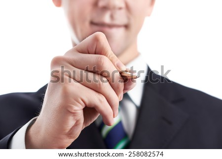Businessman writes a pen isolated - stock photo