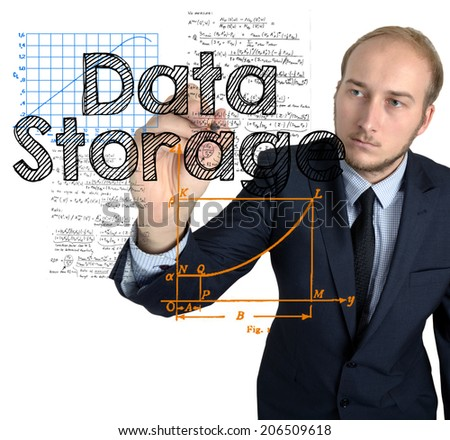 Businessman writes and sketches Data Storage concept on white background - stock photo