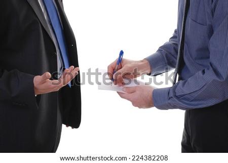 Businessman writes notes isolated on white background - stock photo