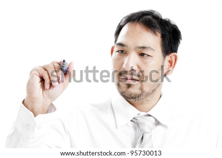 Businessman writing a business plan to get success.