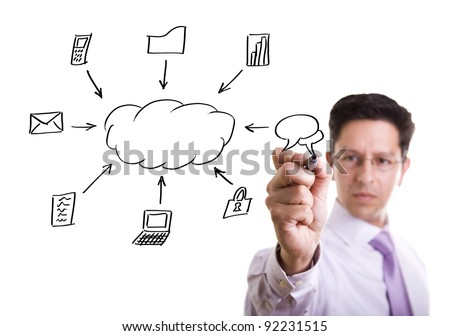 Businessman writing a cloud computing diagram on the whiteboard (selective focus) - stock photo