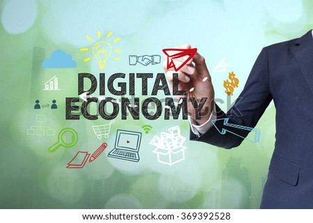 Businessman writing and drawing big data concept on blurred abstract background , business concept , business idea - stock photo