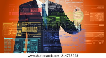 businessman writing and drawing graphs and diagrams on orange background  - stock photo