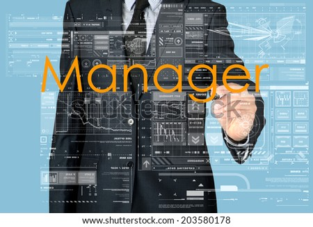 businessman writing and drawing manager - stock photo