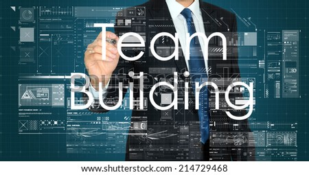 businessman writing and drawing team building  - stock photo