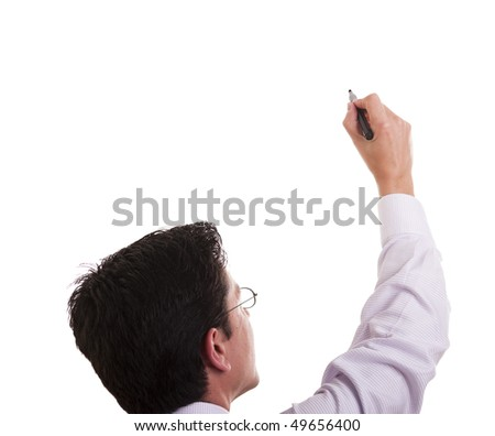 businessman writing at the whiteboard (isolated on white) - stock photo