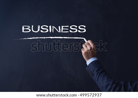 Businessman writing BUSINESS on Blackboard