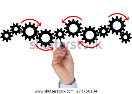 Businessman writing business plan for success, team, growth and copyspace - stock photo