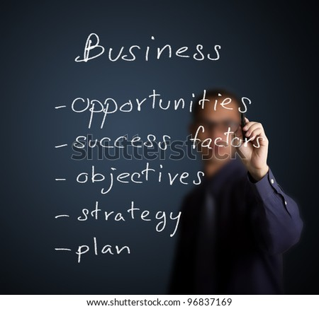 businessman writing business process concept opportunity - success factor - objective - strategy - plan - stock photo