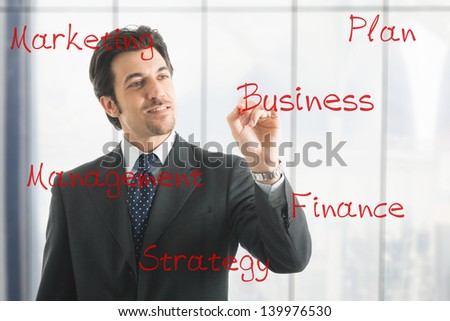 Businessman writing business related concepts on the screen