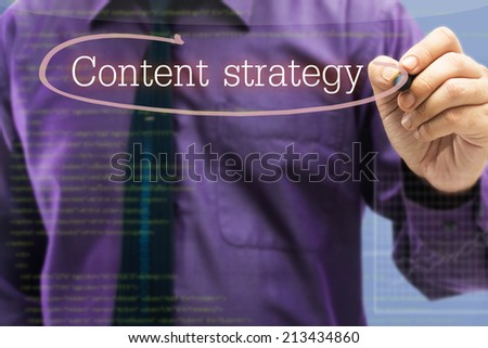 Businessman writing circle on Content strategy topic with copy space for text on screen - stock photo