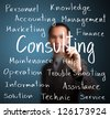 businessman writing consulting concept - stock photo