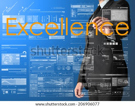 businessman writing Excellence and drawing graphs and diagrams on blue background