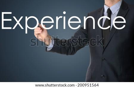 businessman writing experience - stock photo