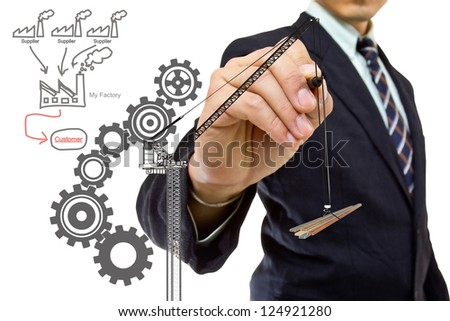 Businessman writing factory concept with white background - stock photo