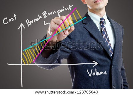 Businessman writing for explain Break Even Point - stock photo