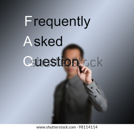 businessman writing frequently asked question ( FAQ ) concept for website service - stock photo