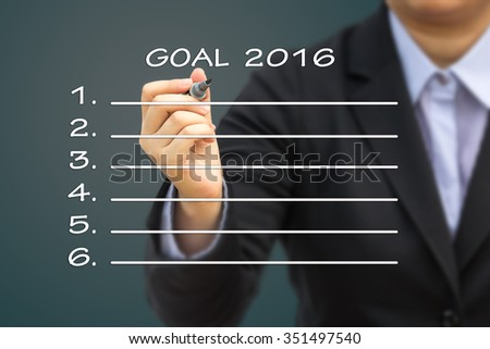 Businessman writing GOAL 2016. Can use for your business concept background.
