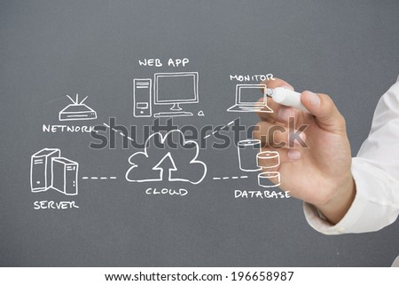 Businessman writing graphic against grey vignette