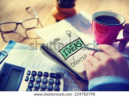 Businessman Writing Ideas Creative Concept - stock photo