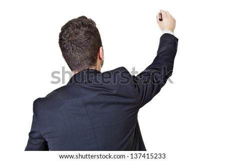 businessman writing isolated on a white background