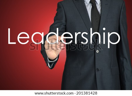 businessman writing leadership - stock photo