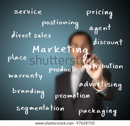 businessman writing marketing concept - stock photo