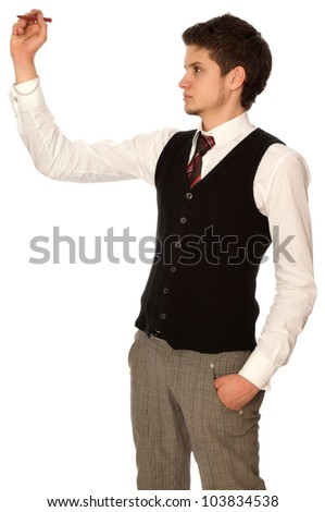 businessman writing on a virtual whiteboard with a tip - stock photo