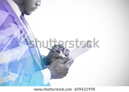 Businessman writing on clipboard against stocks and shares 3d