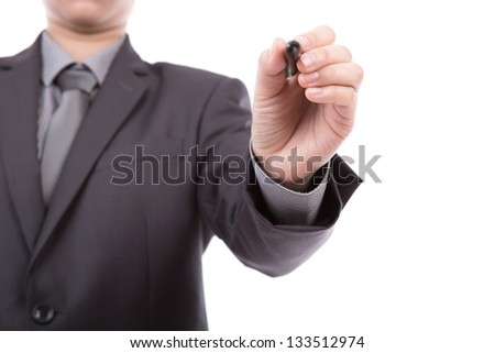 Businessman writing on copy space against white background - stock photo
