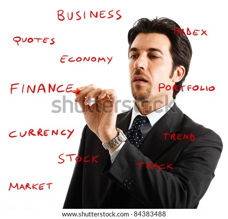 Businessman writing on the screen - stock photo