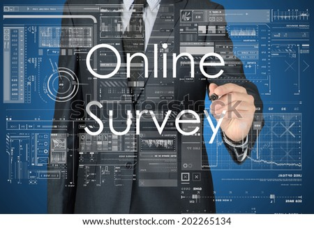 businessman writing online survey