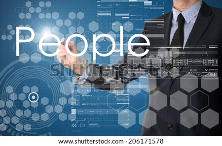 businessman writing People as human resources concept and drawing graphs and diagrams  - stock photo