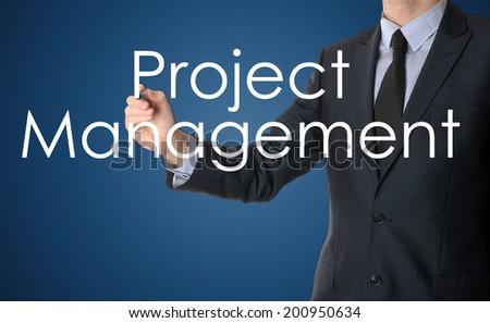 businessman writing project management - stock photo
