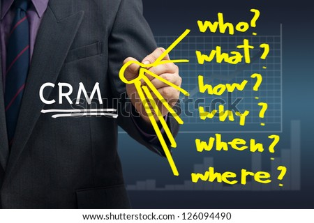 Businessman writing question for customer relationship management concept - stock photo
